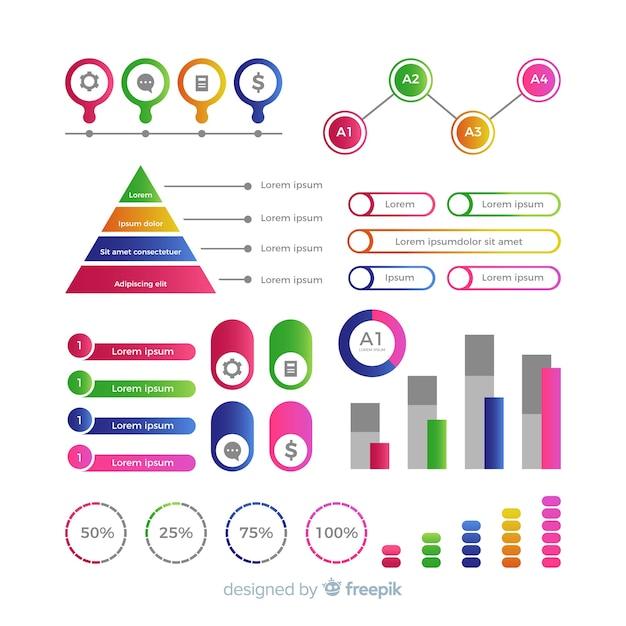 Kolorowe plansza elementy płaska konstrukcja Darmowych Wektorów