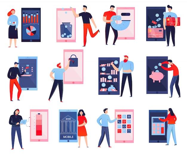 Kolorowe Płaskie Ikony Ustawiać Z Ludźmi Używa Mobilnego Banka Odizolowywającego Na Białym Tle Darmowych Wektorów