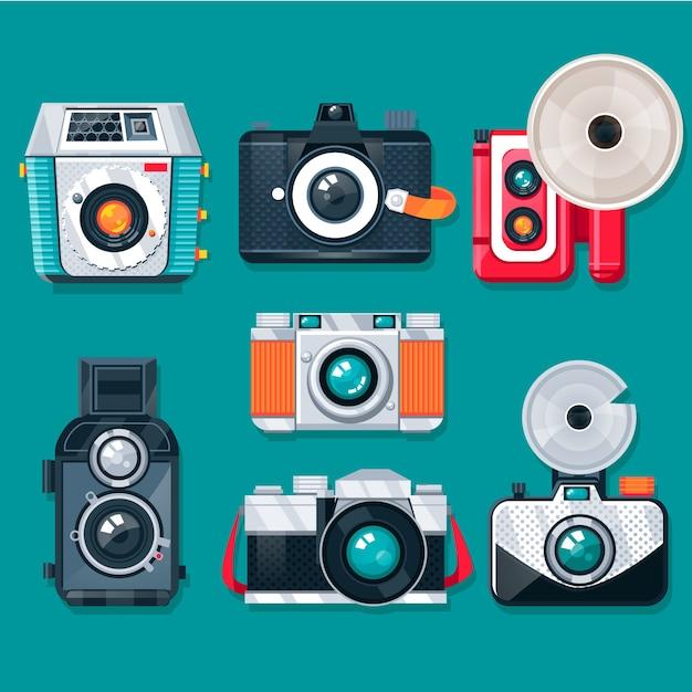 Kolorowe płaskie kolekcje zabytkowe aparaty fotograficzne Darmowych Wektorów
