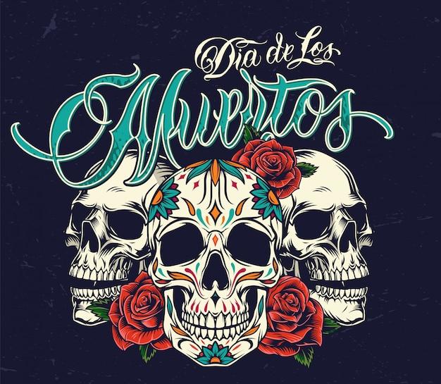 Kolorowe Pojęcie Dia De Los Muertos Darmowych Wektorów