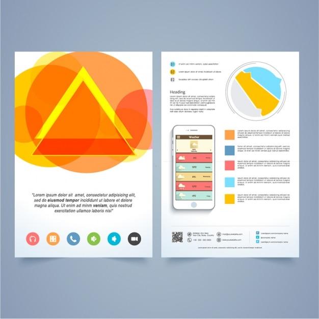 Kolorowe Projekt Broszury Z Telefonu Komórkowego Premium Wektorów