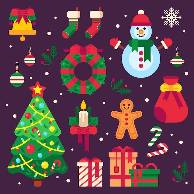 Kolorowe Przedmioty świąteczne Premium Wektorów