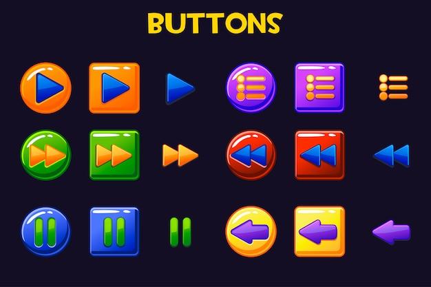 Kolorowe Przyciski Interfejsu Gry, Przycisk Kreskówki Premium Wektorów