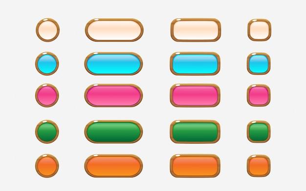 Kolorowe przyciski interfejsu użytkownika w stylu drewnianym Premium Wektorów