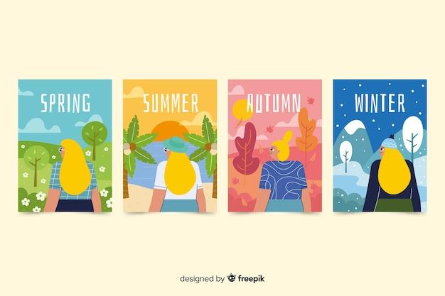 Kolorowe Ręcznie Rysowane Sezonowe Plakat Paczka Darmowych Wektorów