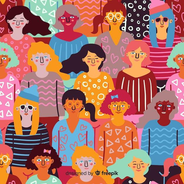 Kolorowe, ręcznie rysowane wzór kobiety Darmowych Wektorów