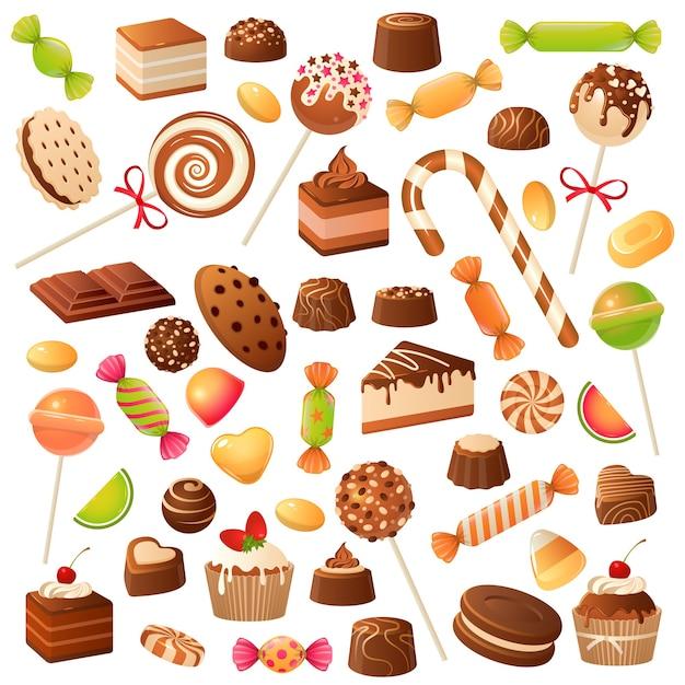 Kolorowe Słodkie Cukierki W Płaskiej Konstrukcji Premium Wektorów