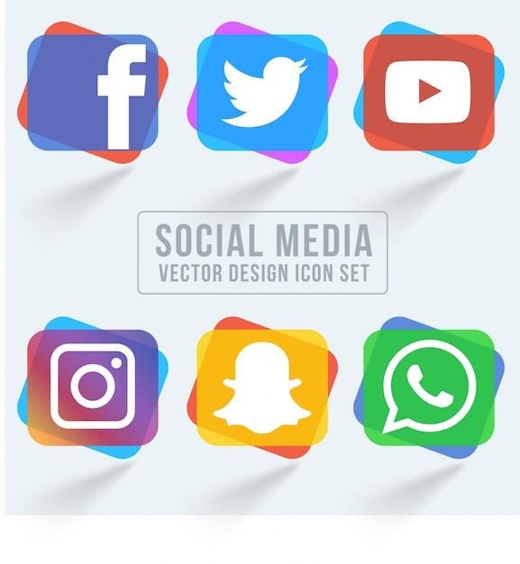Kolorowe social media icon pack Darmowych Wektorów