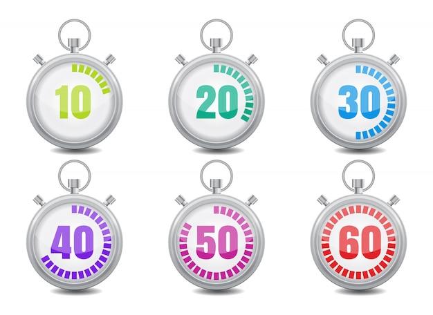 Kolorowe stopery zestaw ikon. ilustracja wektorowa płaski styl Premium Wektorów