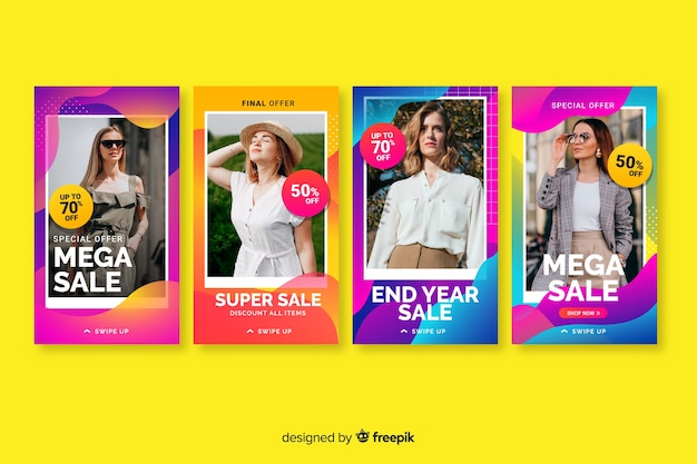 Kolorowe streszczenie sprzedaż instagram historie z wizerunkiem Darmowych Wektorów