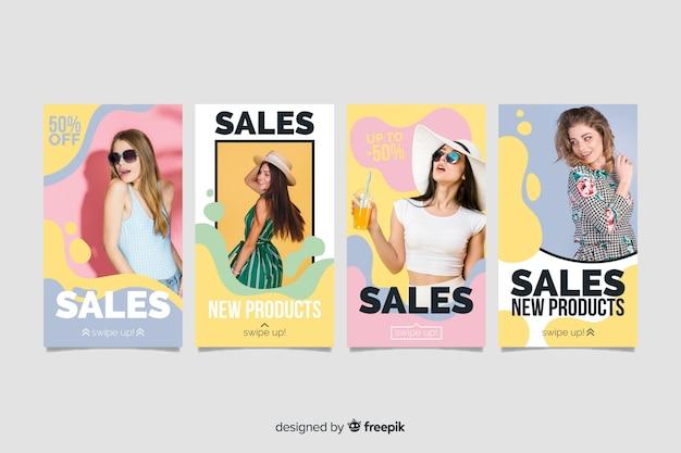 Kolorowe streszczenie sprzedaż instagram historie ze zdjęciem Darmowych Wektorów