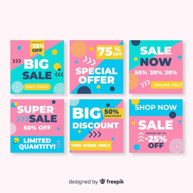 Kolorowe streszczenie sprzedaż instagram posty Darmowych Wektorów