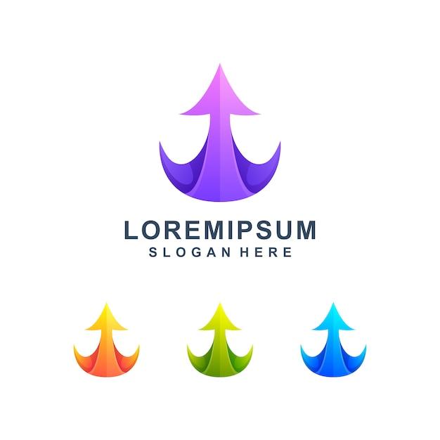 Kolorowe strzałki w górę logo Premium Wektorów