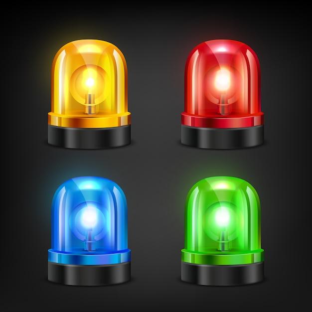 Kolorowe Syreny. Różne Kolory Syreny Policyjnej Lub Pożarowej Premium Wektorów
