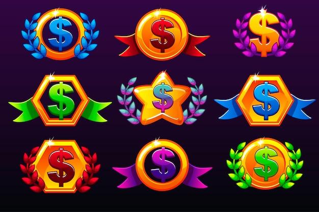 Kolorowe Szablony Ikon Dolara Za Nagrody Premium Wektorów