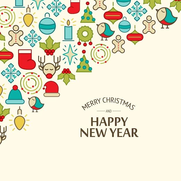 Kolorowe Szczęśliwego Nowego Roku I Wesołych świąt Bożego Narodzenia Darmowych Wektorów