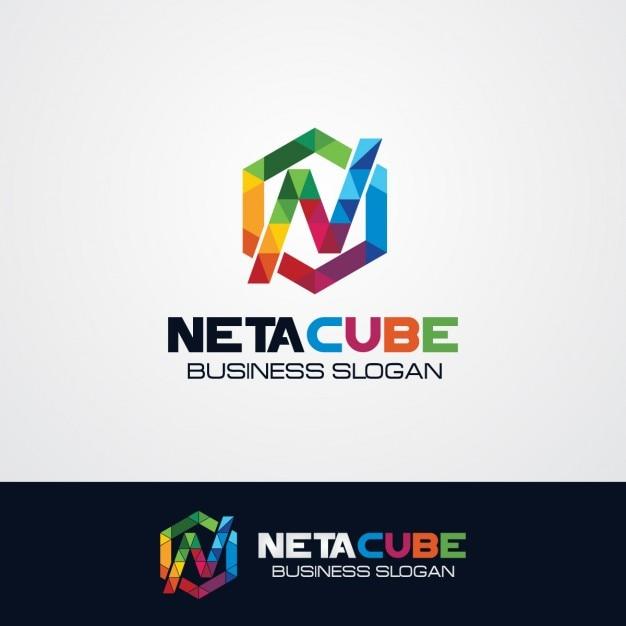 Kolorowe Sześciokątne Litera N Logo Darmowych Wektorów