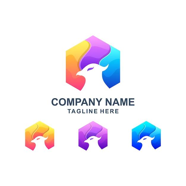 Kolorowe Sześciokątne Logo Orła Premium Wektorów