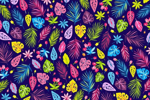 Kolorowe Tapety Egzotyczny Kwiatowy Wzór Tapety Darmowych Wektorów