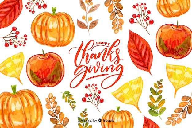 Kolorowe tło akwarela dziękczynienia Darmowych Wektorów