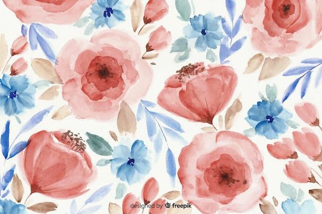 Kolorowe tło kwiatowy akwarela Darmowych Wektorów