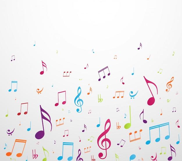 Kolorowe Tło Notatki Muzyki Premium Wektorów