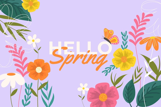Kolorowe Tło Płaskie Wiosna Darmowych Wektorów