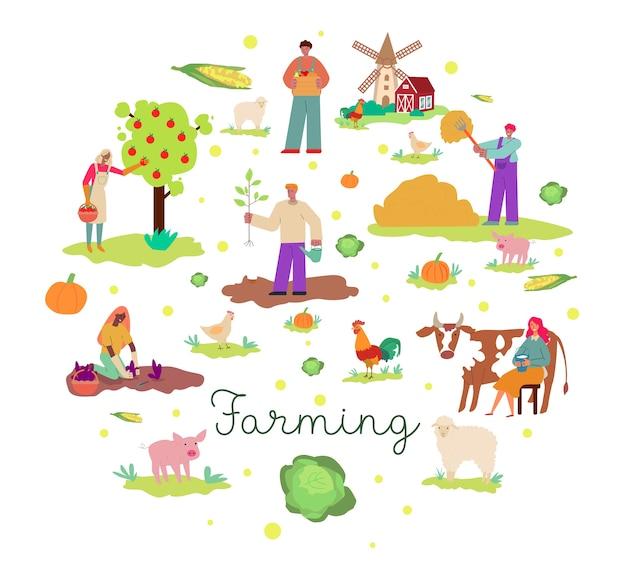 Kolorowe Tło Rolnictwa W Płaskiej Konstrukcji Premium Wektorów