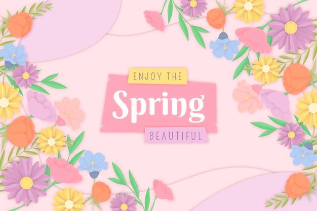 Kolorowe Tło Wiosna W Stylu Papieru Darmowych Wektorów