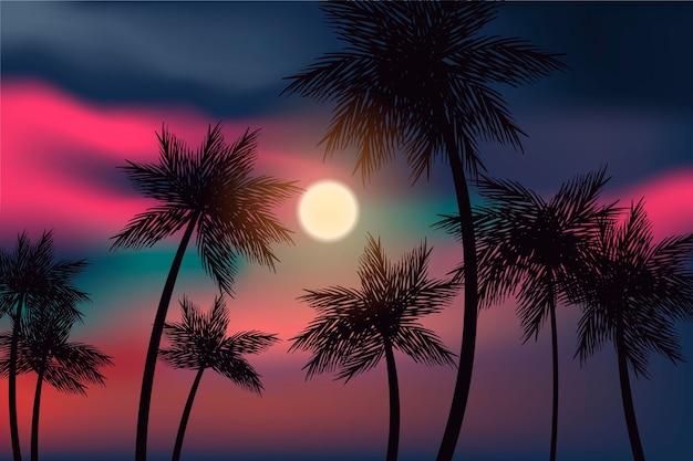 Kolorowe Tło Z Palmowym Sylwetka Stylem Darmowych Wektorów