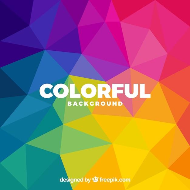 Kolorowe Tło Z Wielobocznymi Kształtami Darmowych Wektorów