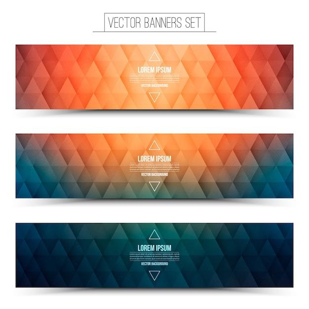 Kolorowe Trójkątne Struktury Pomarańczowy Niebieski Banery Ustawione Na Białym Tle Premium Wektorów
