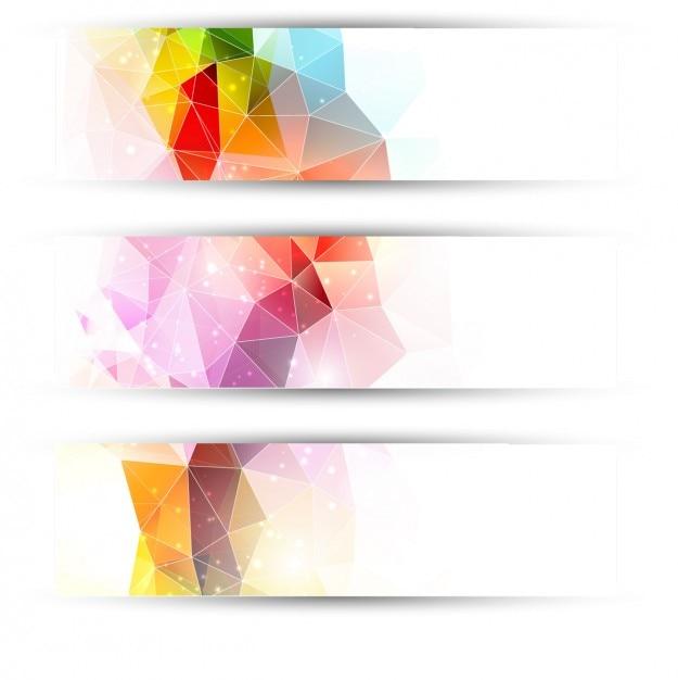 Kolorowe trójkąty nagłówki Darmowych Wektorów