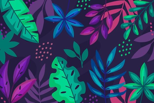 Kolorowe Tropikalne Rośliny Na Ciemnym Tle Darmowych Wektorów