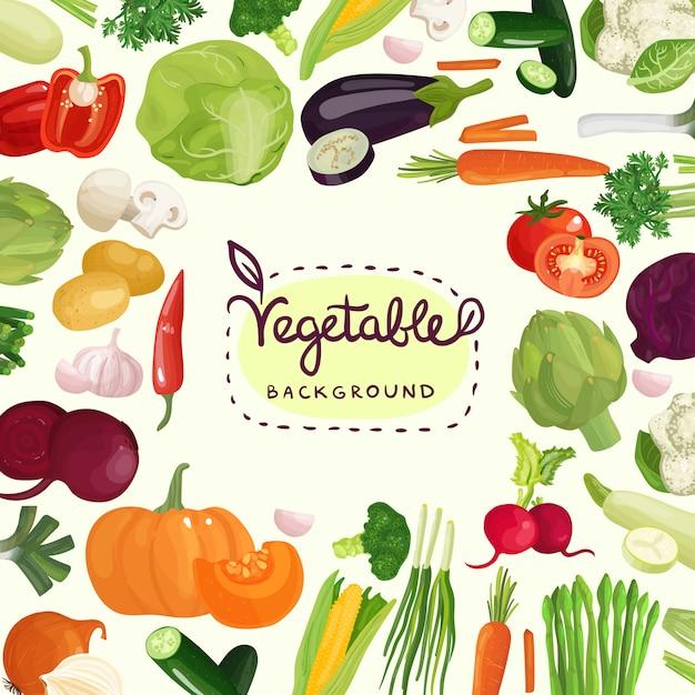 Kolorowe Warzywa Tło Darmowych Wektorów