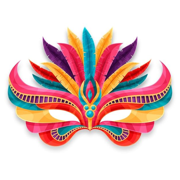 Kolorowe Weneckie Maski Karnawałowe Na Białym Tle Darmowych Wektorów