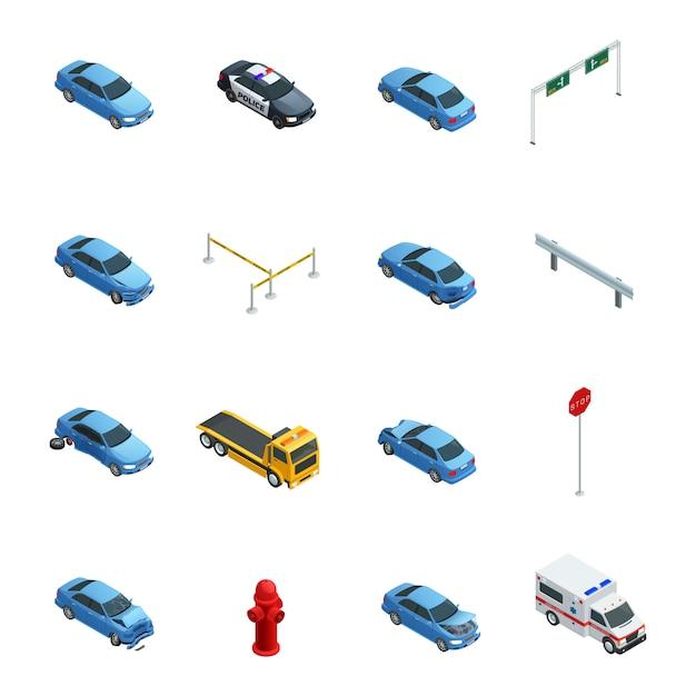 Kolorowe wypadki samochodowe izometryczne ikony ustaw z karetką policji ewakuacji i znak drogowy na białym tle Darmowych Wektorów