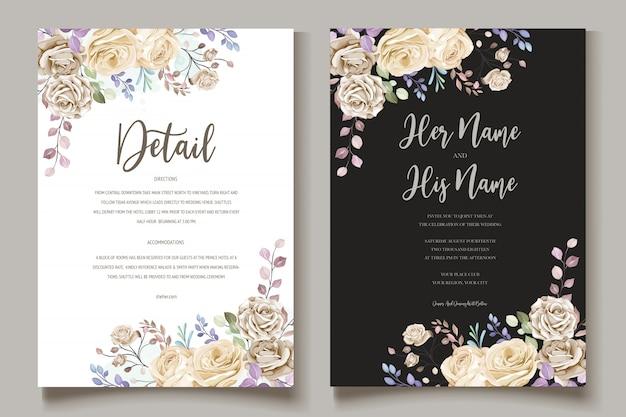 Kolorowe Zaproszenie Na ślub Kwiatowy Premium Wektorów