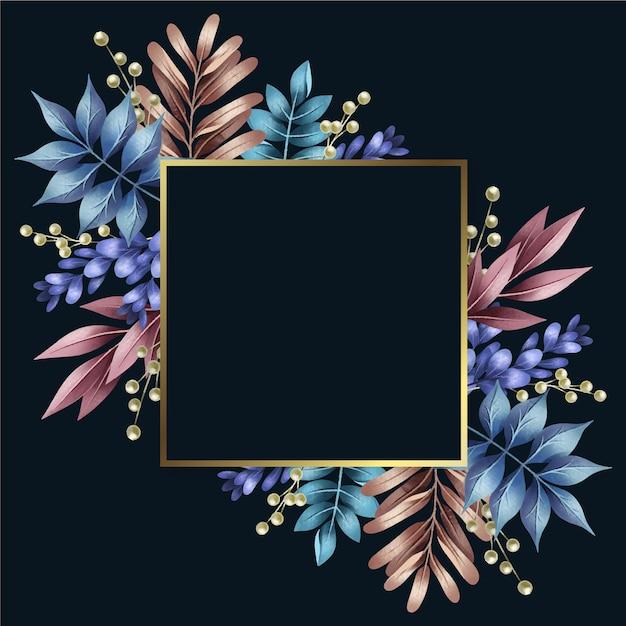 Kolorowe Zimowe Kwiaty Ze Złotą Ramą Darmowych Wektorów