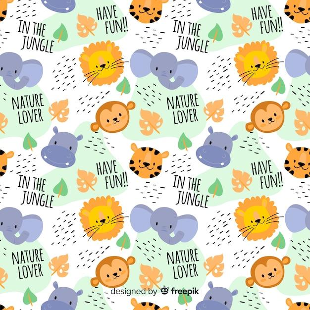 Kolorowe Zwierzęta Dżungli Doodle I Słowa Wzór Darmowych Wektorów