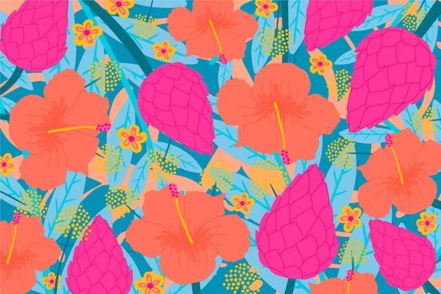 Kolorowego Okwitnięcia Tropikalny Kwiecisty Tło Darmowych Wektorów