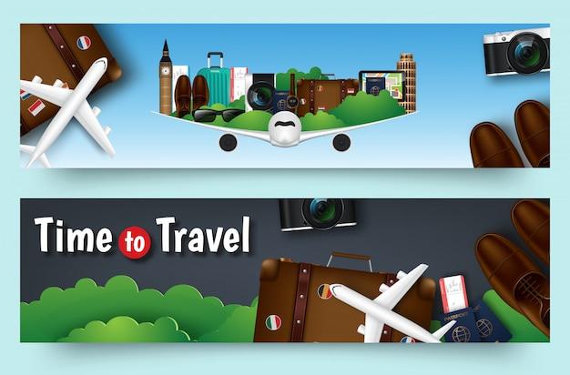 Kolorowej Podróży Wektorowy Płaski Sztandar Ustawiający Dla Twój Biznesu Premium Wektorów