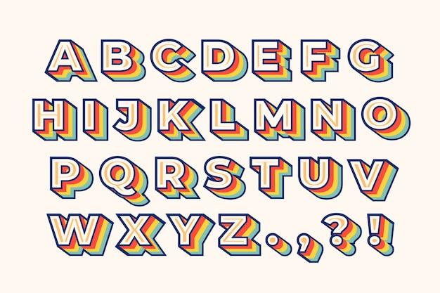 Kolorowy 3d Alfabet Retro Darmowych Wektorów