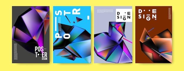 Kolorowy 3d Streszczenie Trójkąt Geometryczne Plakat Premium Wektorów
