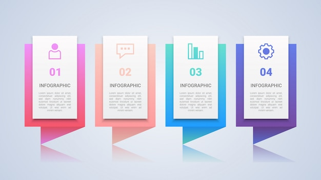 Kolorowy 4 kroków infographic szablon Premium Wektorów