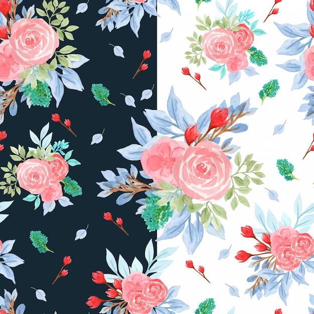 Kolorowy akwarela bezszwowe kwiatowy wzór z różami Premium Wektorów