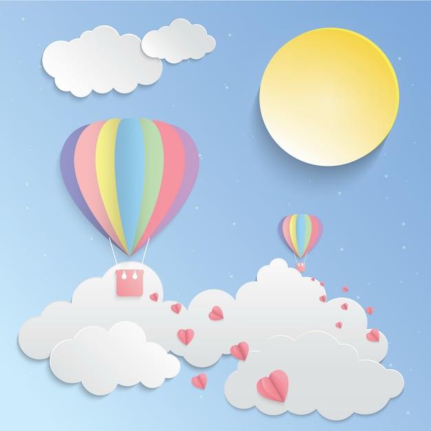 Kolorowy balon i różowy serce wektor sztuki papieru Premium Wektorów