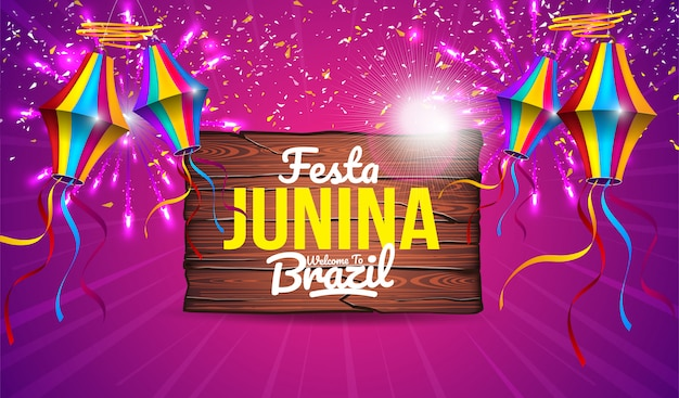 Kolorowy Baner Festa Junina Premium Wektorów