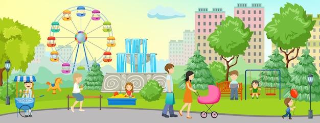Kolorowy Baner Parku Miejskiego Z Miejscem Na Spacer Po Lesie I Domach W Pobliżu Darmowych Wektorów