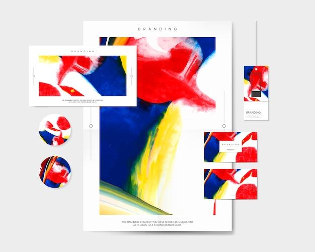 Kolorowy branding ustawiający z abstrakcjonistycznym projekta wektorem Darmowych Wektorów